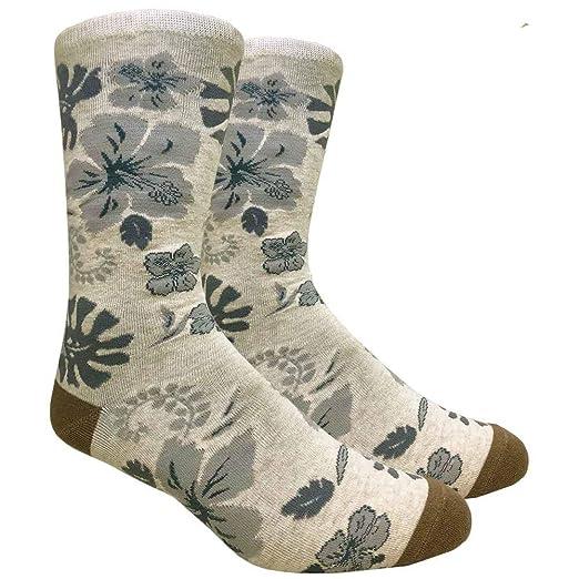 6c356a1415 Amazon.com  Men s Hibiscus Tropical Hawaiian Flowers Floral Novelty Crew  Dress Socks (Beige)  Clothing