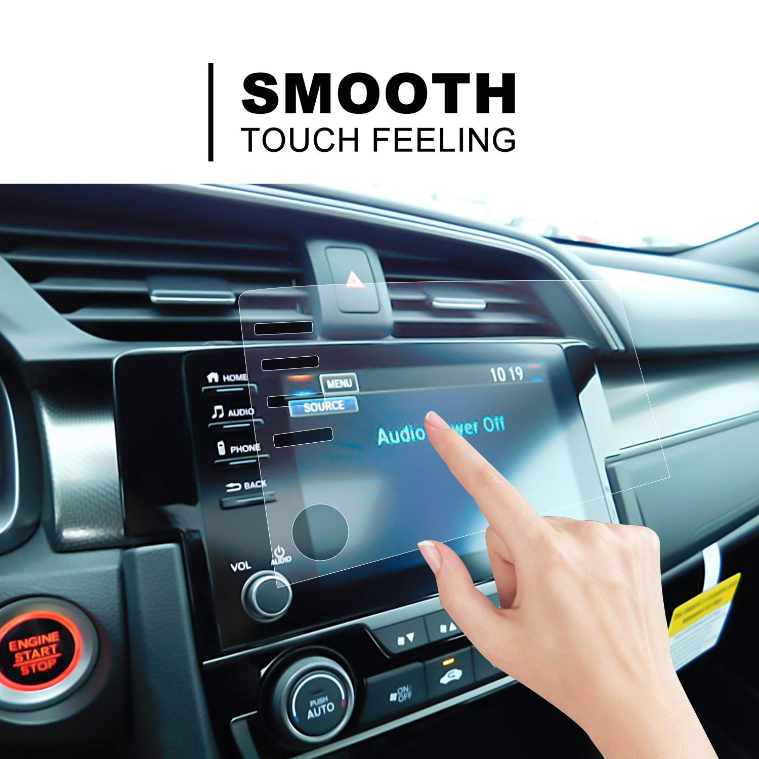 LFOTPP Fit for 2019 Civic LX EX Touring Si EX-L 4 Buttons Control Screen Protectors PET Plastic Center Touch HD Crystal Clear in-Dash Stereo Protective Film 4 Buttons Film 2PCS