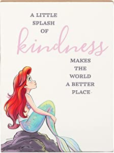 Open Road Brands Disney Princess The Little Mermaid Ariel Wood Block Decor - Hang or Display on a Shelf or Dresser - A Little Splash of Kindness Makes The World a Better Place