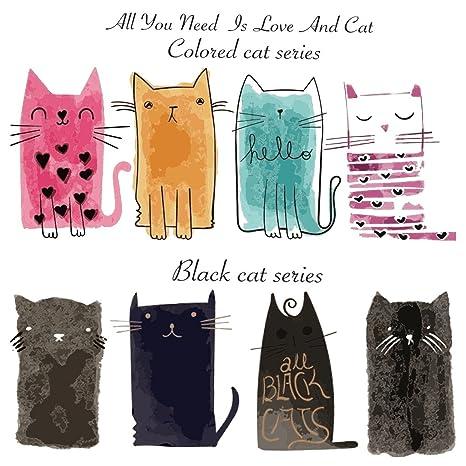 Hergon - Parches para gatos para ropa de niños, pegatinas de bricolaje, parche de planchado para bolsos, sombreros, pantalones vaqueros, decoración de ...