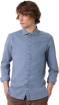 Scalpers Camisa ALGODÓN Garment Dye - Blue / 40: Amazon.es: Ropa y accesorios