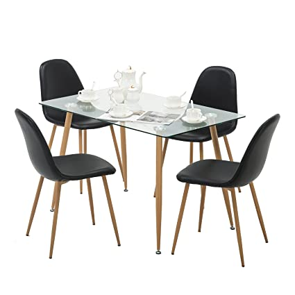 Mecor Dining Set Glass Top Table Eames Leather Chairs Wooden Legs Kitchen  Breakfast Furniture Black