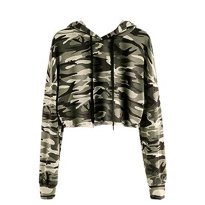MakeMeChic Women's Long Sleeve Casual Printed Sweatshirt Crop Top Hoodies at Women's Clothing store