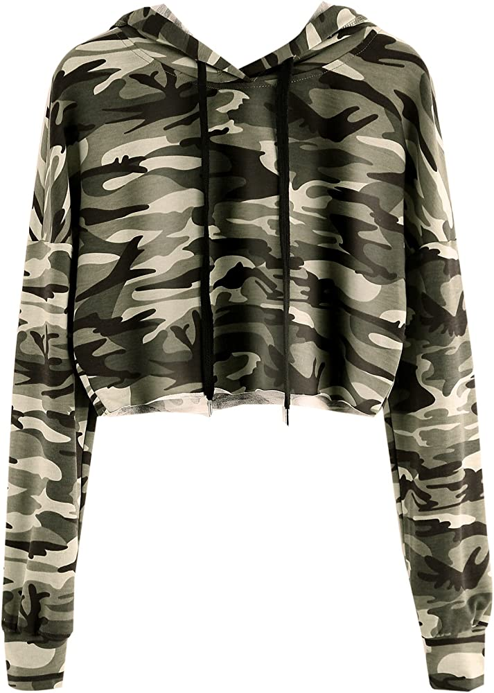 acf182d906f86 MAKEMECHIC Women's Long Sleeve Camo Print Sweatshirt Crop Top Hoodies Army  Green XS