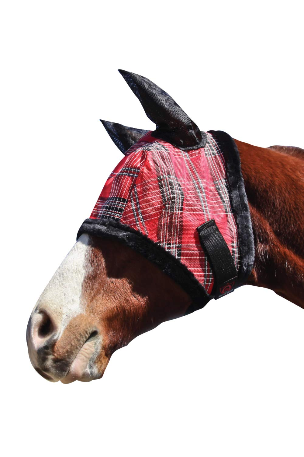 Kensington Fly Mask with Fleece Trim and Soft Ears — Allows Full Visibility with Maximum Protection  — Features Original Double Locking System — UV Protection with Comfortable Fleece Trim
