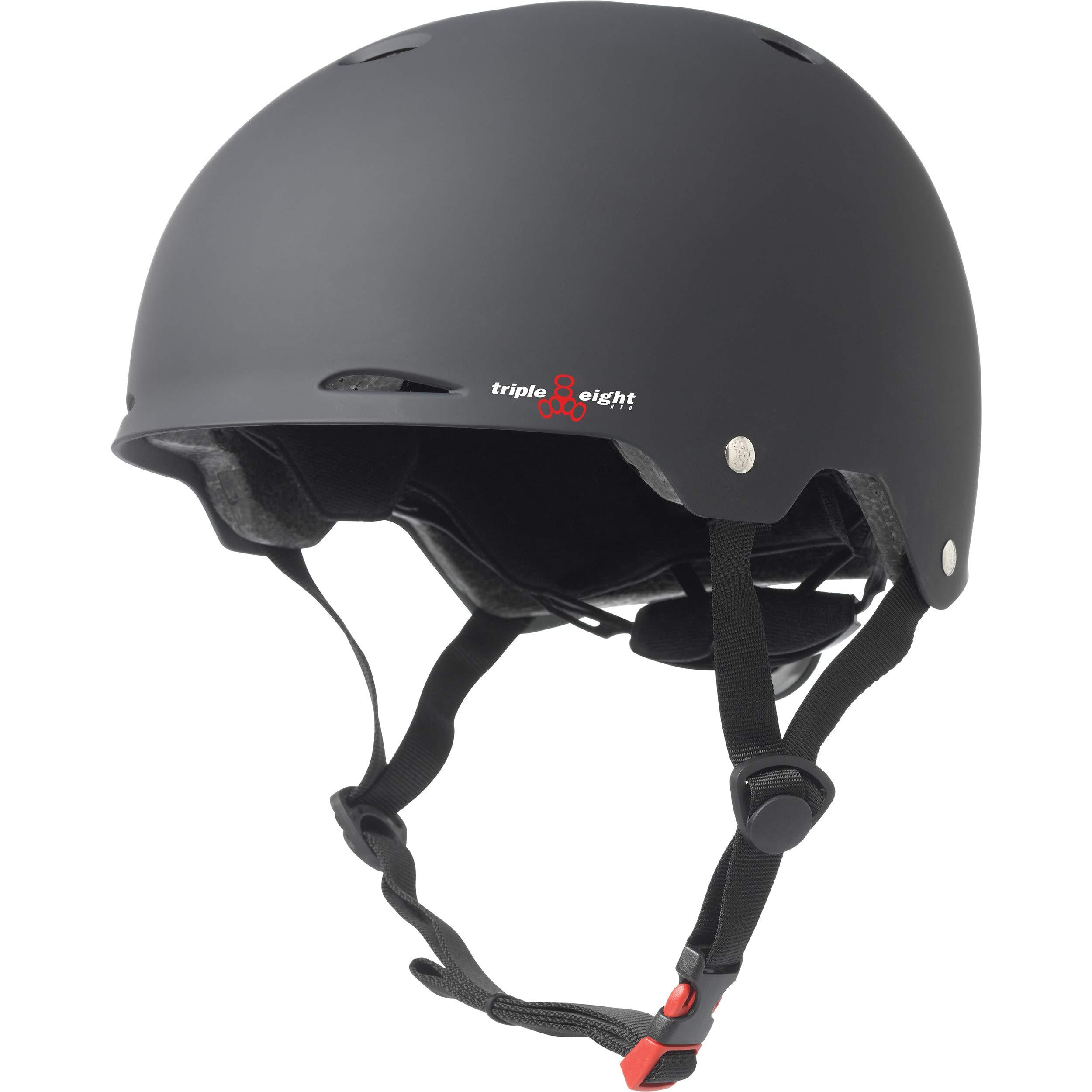Triple Eight Gotham Dual Certified Skateboard and Bike Helmet, Black Matte, Large / X-Large