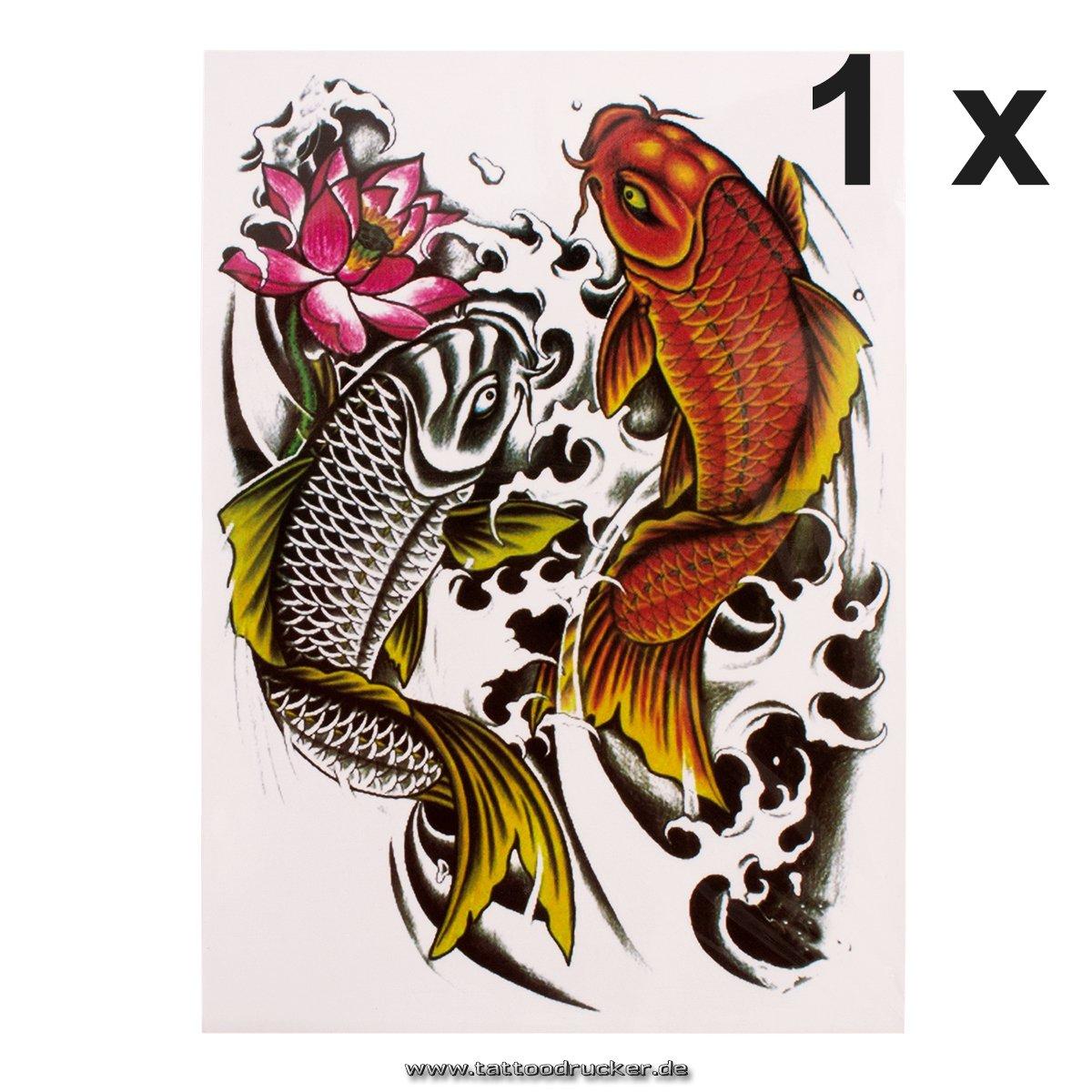 Carpas Tattoo – Pescado Cuerpo adhesivo – Una vez temporary Fake ...