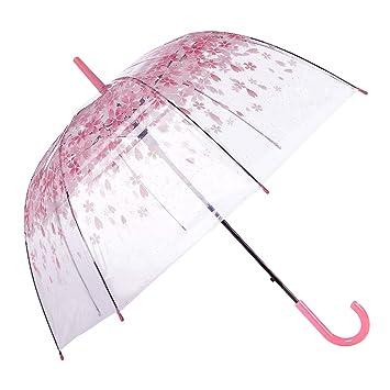 ececfa313f92 [Pink Cherry]Moonse Romantic Pink Cherry Clear Rain Wind  Umbrella,Half-Automatic