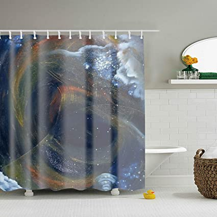 ROOMY Distorted Universe Shower Curtain Waterproof Bathroom Decor With Hooks