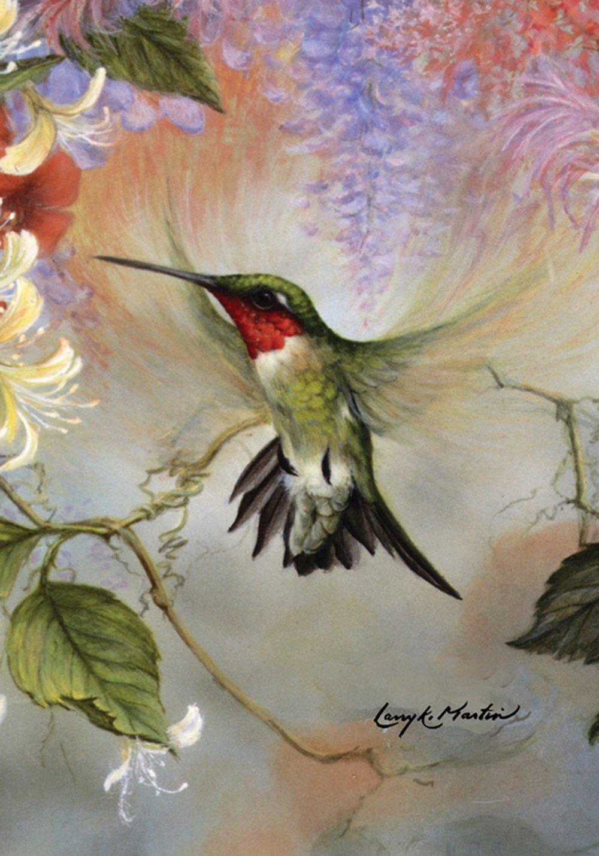 Toland Home Garden Ruby Throated Honey 12.5 x 18 Inch Decorative Flying Wing Hummingbird Spring Summer Garden Flag