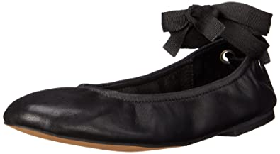Steve Madden Womens Meow Ribbon Tie Ballet Flat Shoes, Black Leather, US 5.5