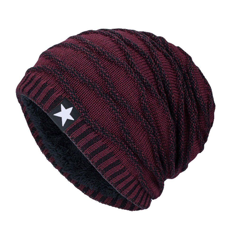 afa87f4306a iYBUIA Winter Unisex Knit Cap Hedging Head Hat Beanie Cap Warm Outdoor  Fashion Hat(Black