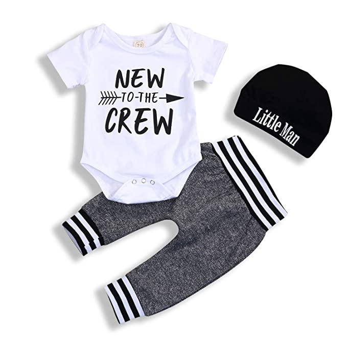 d291d53a42db Amazon.com  Newborn Baby Boy Clothes Set to The Crew Print Short ...