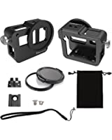 Luxebell C400 Aluminium Alloy Skeleton Thick Solid Protective Case Shell with 52mm Uv Filter for Gopro Hero 5 Camera - Wide Angle Mode Have No Vignetting