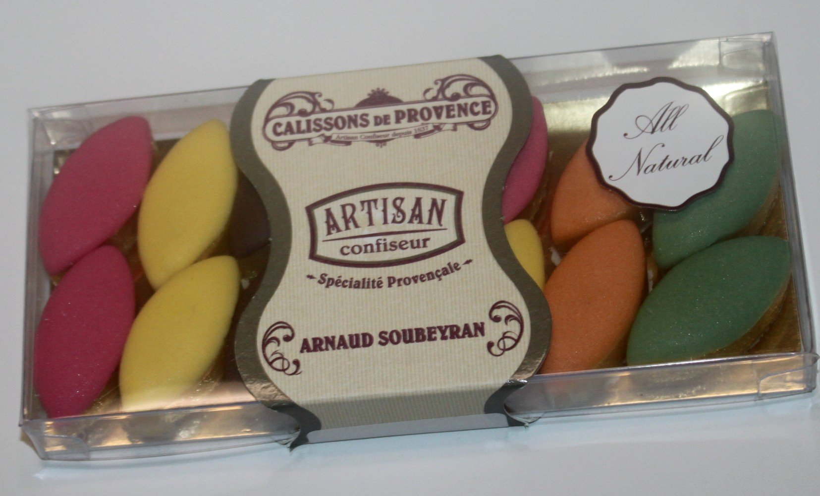 Calissons de Provence Assorted Fruit Flavored All Natural imported from Arnaud Soubeyran France - 14 small pieces, 70 grams Gift Box