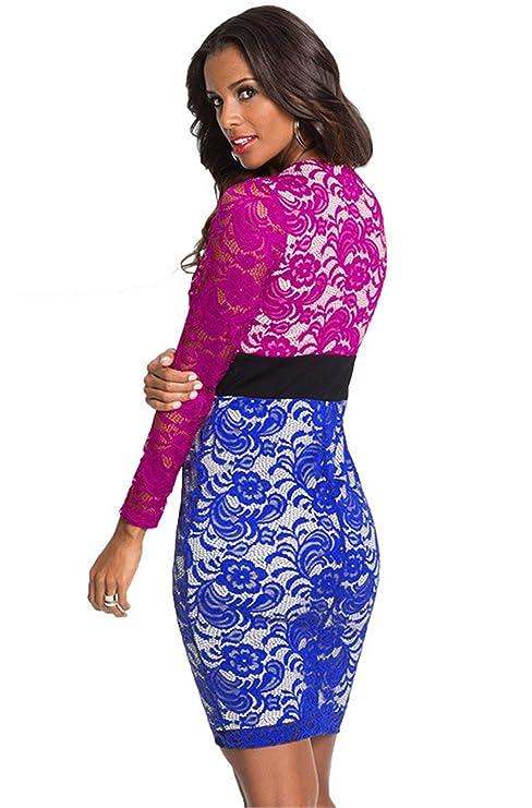 0332cf2ceab4 COCO clothing Donna Vestiti In Pizzo Eleganti Corto Vintage Scollo a V  Profondo Abito Da Cerimonia  Amazon.it  Abbigliamento