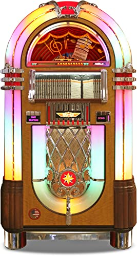 Rock-Ola Bubbler CD Jukebox in Walnut with Bluetooth – Holds 100 CDs