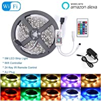LED Strip Light, Smart WiFi Remote Control RGB SMD 5050 LED Color Changing Strip Light with DC12V 2A Power Supply for Alexa Google - 5m