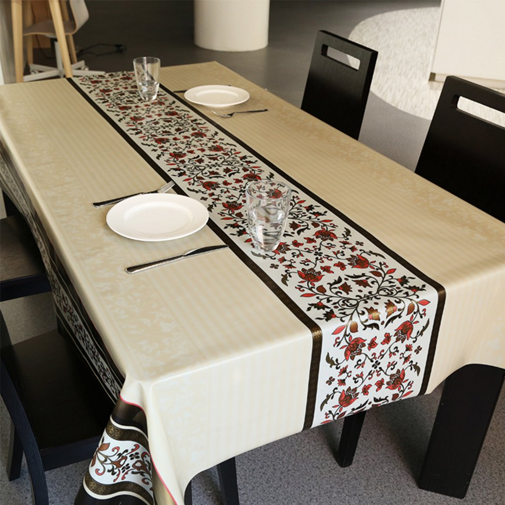 CHENGYI Tovaglia rossa del modello del fiore PVC Moderno semplice di modo Upscale Soggiorno Cucina Ristorante Hotel 137  190cm (Questo prodotto vende solo tovaglie)