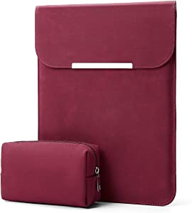 "KALIDI 13.3 inch Laptop Sleeve Case Faux Suede Leather for MacBook Air Pro Retina 2016-2020, for 13""-13.5"" Surface Pro 5 6 7 with Pouch (for 13.3 inches MacBook/Pro/Air, Burgundy)"