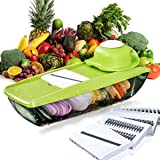 TAPCET Stainless Steel Mandoline Slicer,5 Interchangeable Blades + Food Container + Safety Food Holder + Butting Board + Blade Storage Box For Fruit Vegetable Cheese