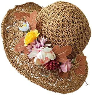 WFYJY-Cappello a Maglia Mano Vuota grossi cornicioni Cappello di Paglia Fiore ribaltabili.Un