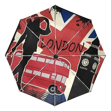 COOSUN Retro Londres cartel automático 3 plegable del paraguas del parasol Color # 002