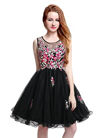 Sarahbridal 2017 Short Homecoming Dresses See Through Scoop Tulle Prom Party Gowns Dress with Applique for Girls SLX201 Black: Amazon.co.uk: Clothing