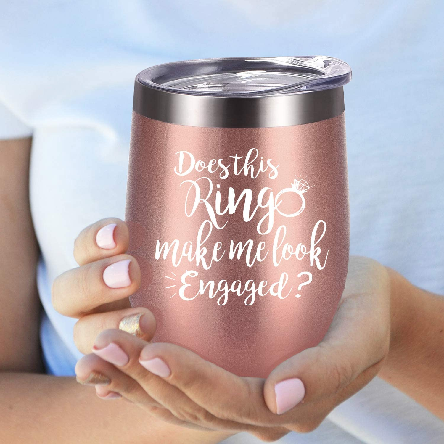 Engagement Gift for her Personalized Does This Ring Make Me Look Engaged Wine Glass Engagement Wine Glass