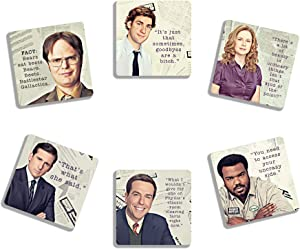 EXIT82ART - Rubber Coasters, Set of 6. Absorbent. Funny and Inspirational Quotes from The Office. Hand Made in Austin, Texas..