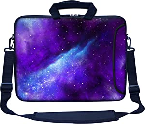 """Meffort Inc 15 15.6 inch Neoprene Laptop Bag Sleeve with Extra Side Pocket, Soft Carrying Handle & Removable Shoulder Strap for 14"""" to 15.6"""" Size Notebook Computer - Galaxy Universe"""