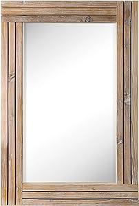 SRIWATANA Rustic Wall Mirror Wood Framed, 24