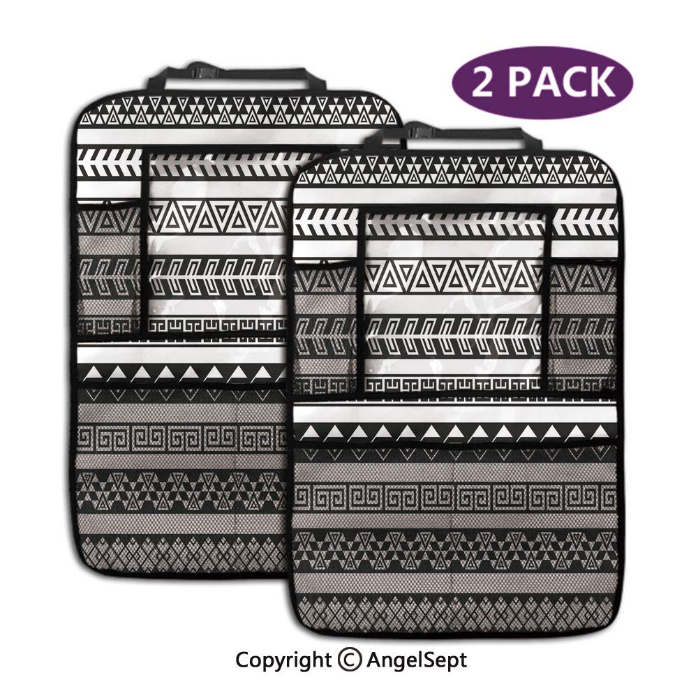 Backseat Car Organizer Kick Mats,Tribal Ethnic Borders Native American Aztec Ancient Geometric Folkloric Figures Black and White,19.3x27.2inch,Storage Bag for Kids Toddlers(2 Pack) by RWNFA