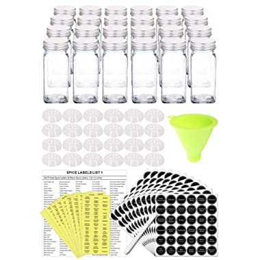 SWOMMOLY 24 Glass Spice Jars with 801 Spice Labels, Chalk Marker and Funnel Complete Set. 24 Square Glass Jars 4OZ, Airtight Cap, Pour/sift Shaker Lid