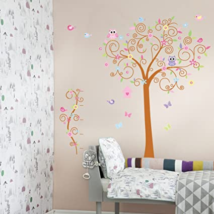 Wonderful Cute Owls Birds On Colorful Tree Removable Wall Stickers Home Decor Decals  For Living Room Bedroom