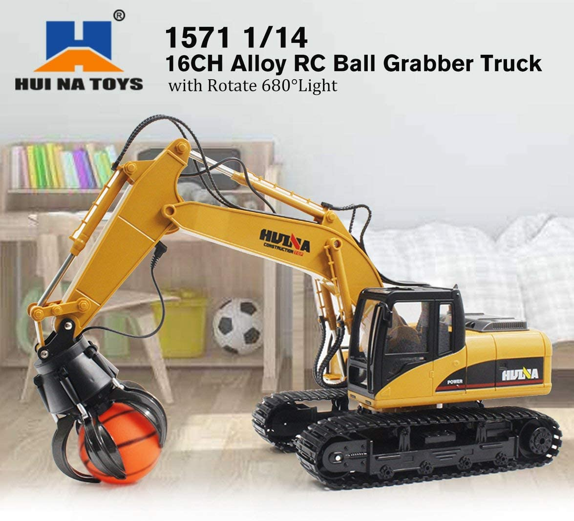 HUINA TOYS 1571 1//14 16CH Alloy RC Ball Grabber Truck Engineering Construction Car Vehicle with Sound Light Rotate 680/°RTR