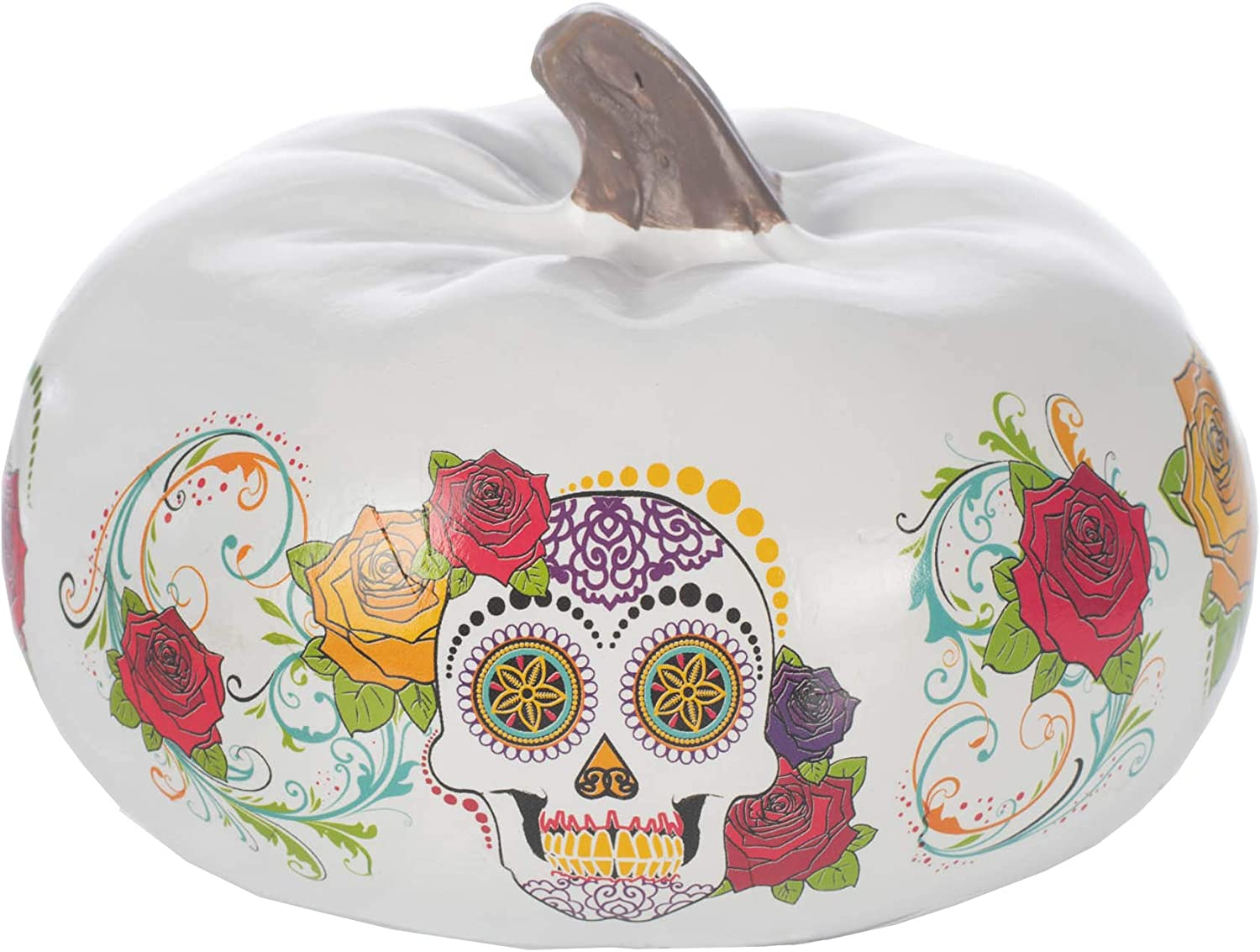 Elanze Designs Floral 6 inch Resin Day of The Dead Decorative Pumpkin
