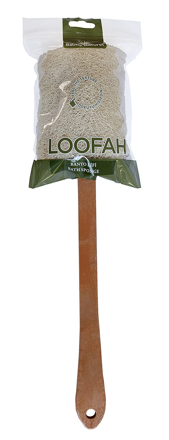 BALMY NATUREL - Loofah Exfoliating Back Scrubber For Shower, Large Size 48cm with Long Handle, Double Side Scrubbing, Body Bath Sponge with 100% Natural Luffa, Back Washer for Men and Women