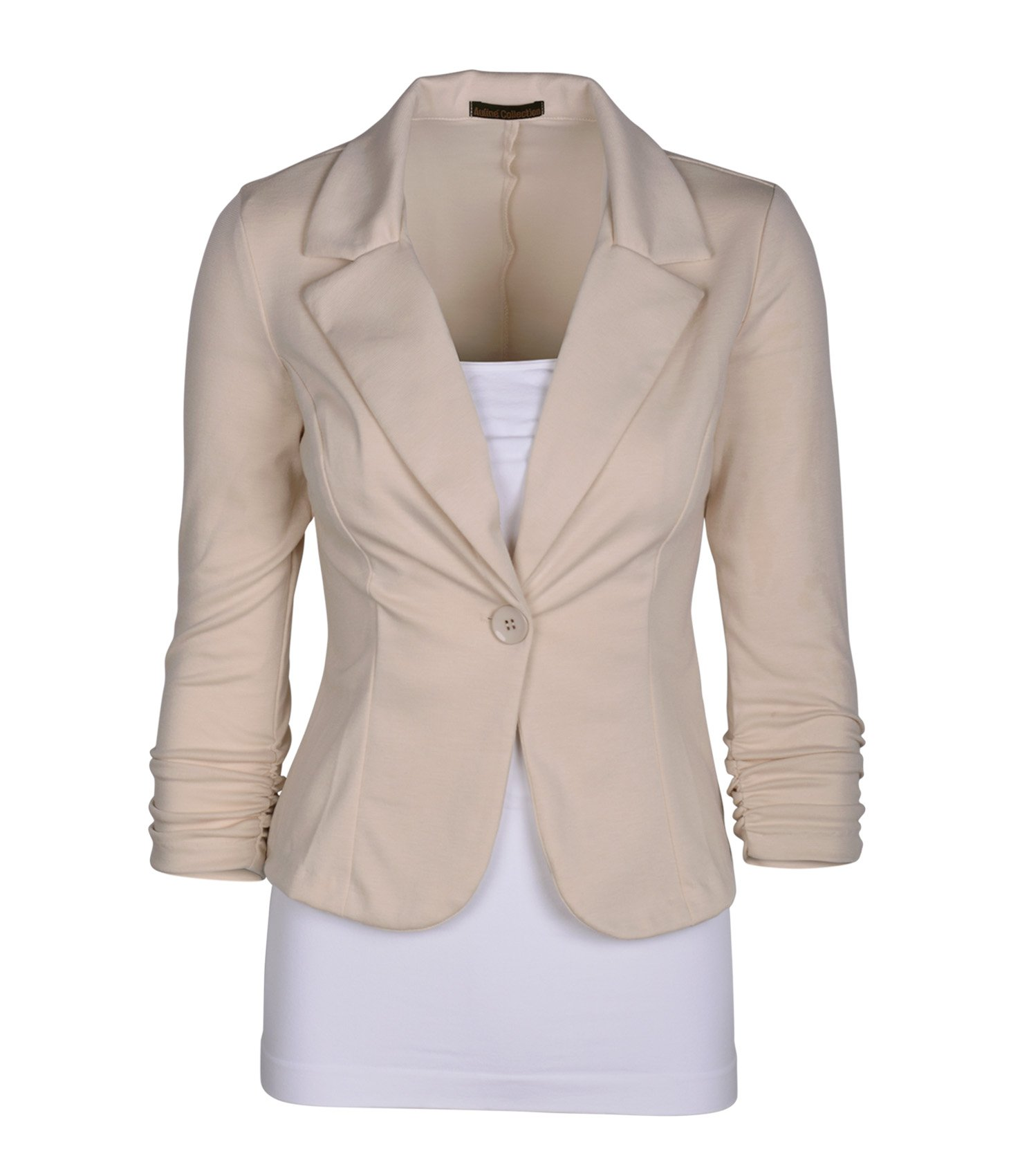 Auliné Collection Women's Casual Work Solid Color Knit Blazer Cappuccino Large
