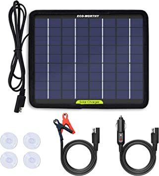 ECO-WORTHY 12V 5W Energía del Panel Solar Portátil para Cargador de Batería de Coche con Ventosa Trasera para Motocicletas Barco de Coche