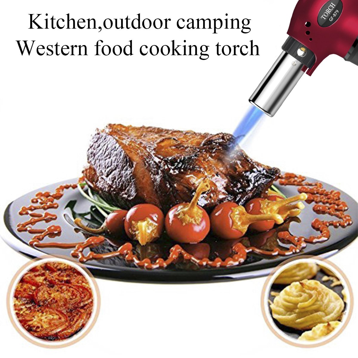 Blow Torch, Refillable Cooking Kitchen Butane Torch Lighter With Safety Lock & Adjustable Flame Perfect for Pastries, Desserts, Brazing, Soldering, Welding, Melting, Heating, Peeling & More by Semdisan (Image #3)