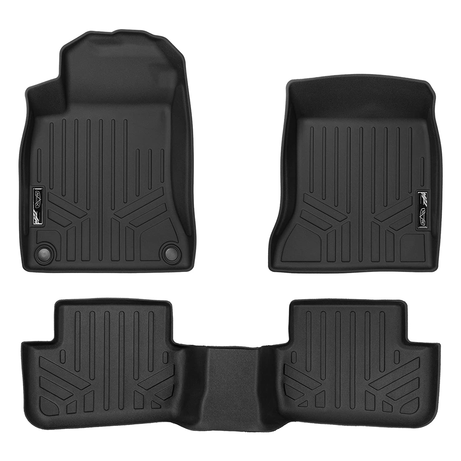 SMARTLINER Custom Fit Floor Mats 2 Row Liner Set Black for 2014-2019 Mercedes Benz CLA 2015-2019 GLA