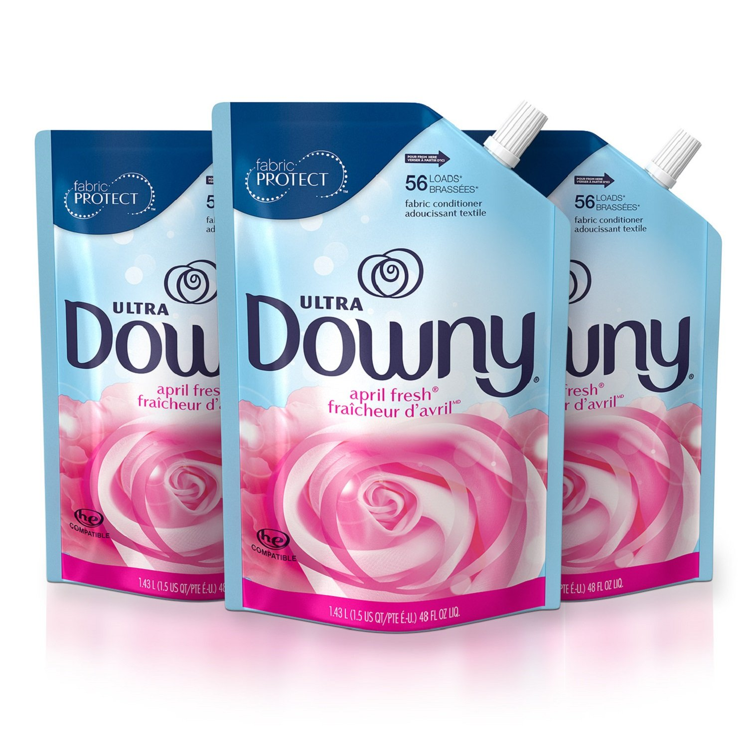 Downy Ultra April Fresh Liquid Fabric Conditioner Smart Pouch, Fabric Softener - 48 Oz. Pouches, 3 Pack by Downy