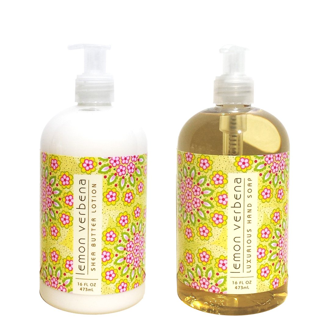 Greenwich Bay LEMON VERBENA Hand & Body Lotion and Hand Soap Duo Set Enriched With Shea Butter 16 oz ea.