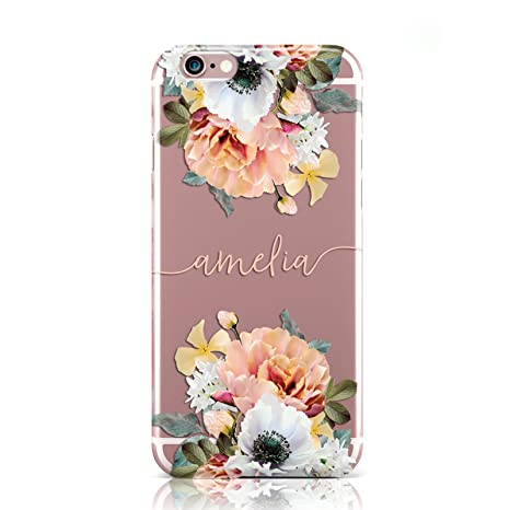 00e618370c PERSONALISED NAME CLEAR FLORAL PINK MOBILE PHONE CASE: Amazon.co.uk:  Electronics