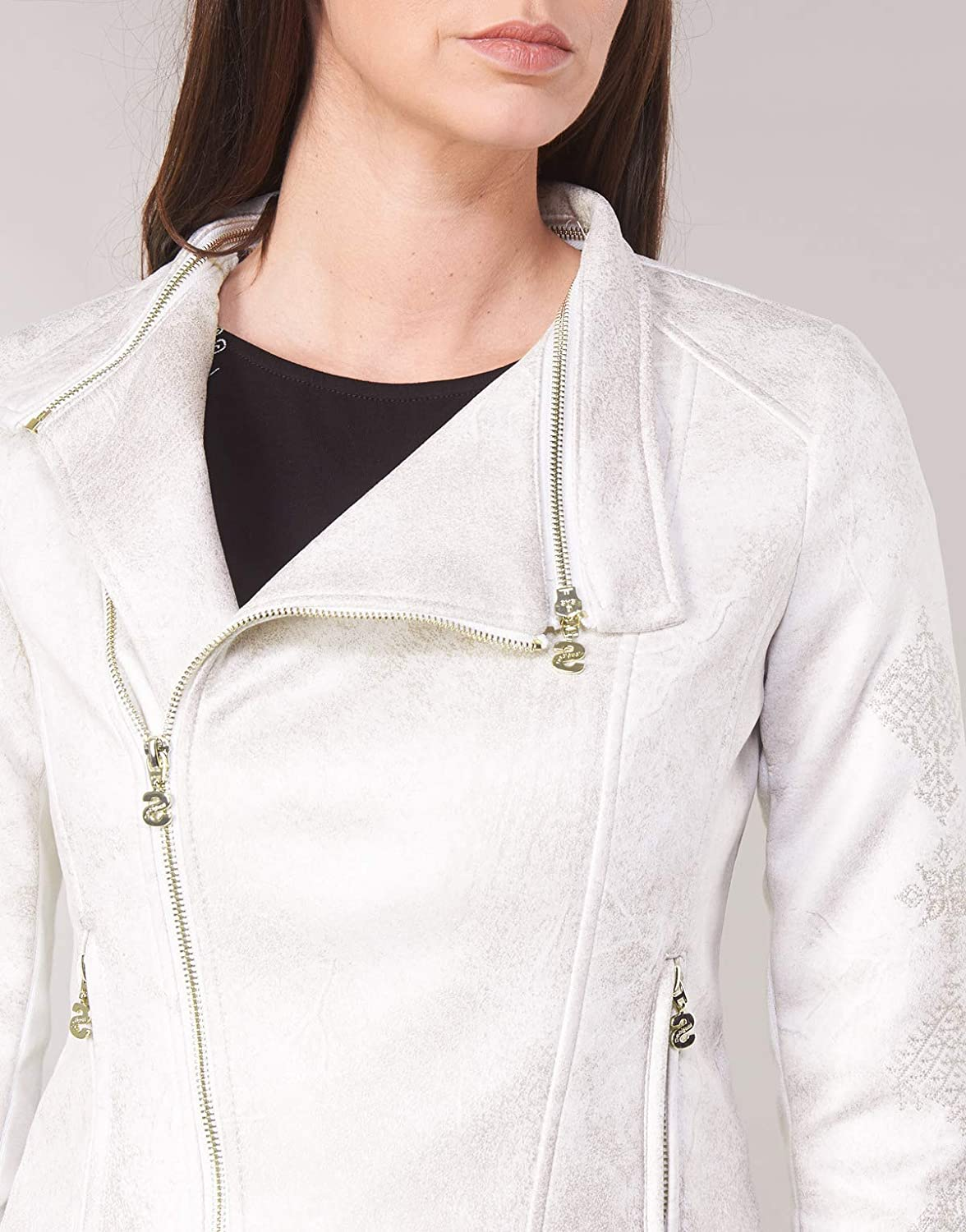Desigual Marble Giacche Donne Bianco Giacca in Cuoio//Simil Cuoio
