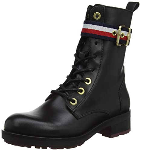 7a465147 Tommy Hilfiger Corporate Belt Biker Boot, Botas Militar para Mujer ...