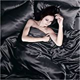 Satin 6 Pcs Silky Sexy Bedding Set Queen / King Duvet Cover Fitted Sheet & 4x Pillowcases 8 Colors (King, Black)