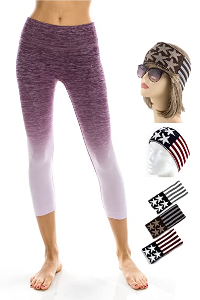 5d534def86221 Fashionable Workout Leggings - High Waisted Two Tone Ombre Pants - 4 Way  Stretch Yoga Leggings