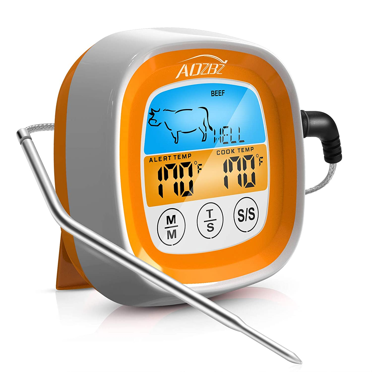 AOZBZ Digital Meat Food Thermometer, Suitable for Smoked Confectionery Food Barbecue and Kitchens Thermometers, Touch LCD Display Screen with Bracket and High Temperature Resistant Waterproof Probe